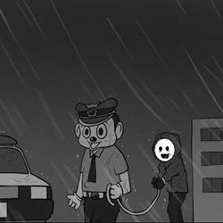 철컹 비오는날 잡혀가는 범죄자 철컹철컹 경찰  수갑 밧줄