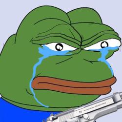 개구리 표정 분노 슬픔 눈물 총 권총